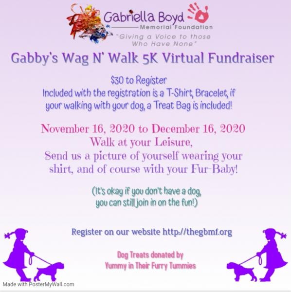 Gabby's Wag N' Walk 5K Virtual Fundraiser